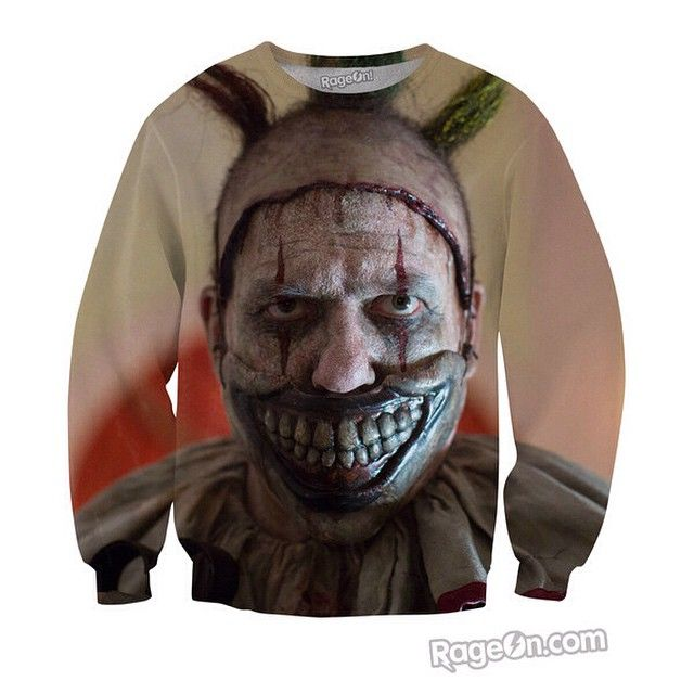 Here's Twisty the clown!!!!!! Find this amazing crewneck sweater here: http://www.rageon.com/?rfsn=39887.6e840 use the code DYNAMITE for 10% off at the checkout.. #AmericanHorrorStory #Clown #Clowns