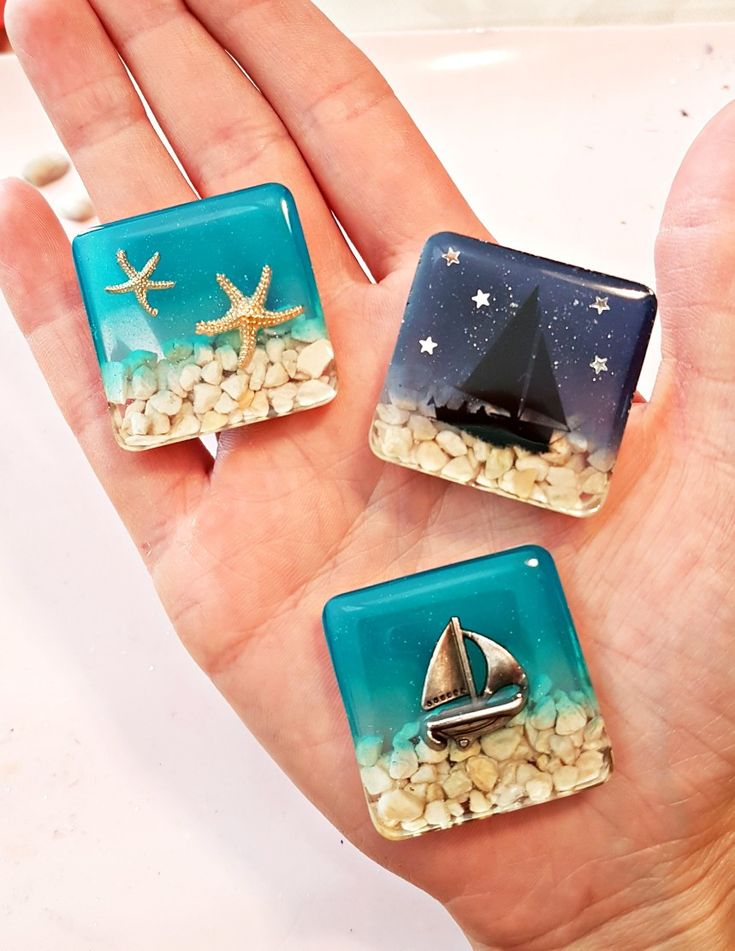Resin Gießharz Beach sea Pendant Magnet