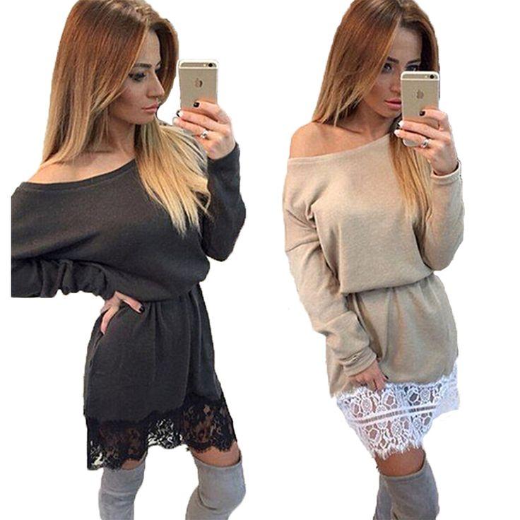 40 Women Female Casual Dresses Loose Slash Neck Lace Patchwork Vestidos Tunic Long Batwing Sleeve Mini Dress Black Off Shoulder