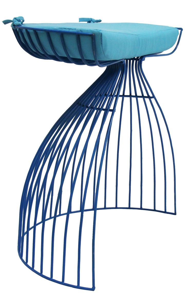 NEW IN: Semi-crescent wire stools in BLUE! Waterproof including cushion. From $130RRP AUD.    http://www.philbee.com.au/decor/egg-iron-chair-with-cushion-blue.html