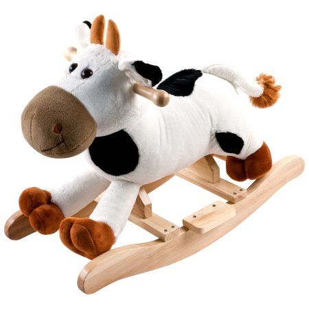 Connie Cow Plush Rocking Horse Animal Ride On Toy by Happy Trails, White