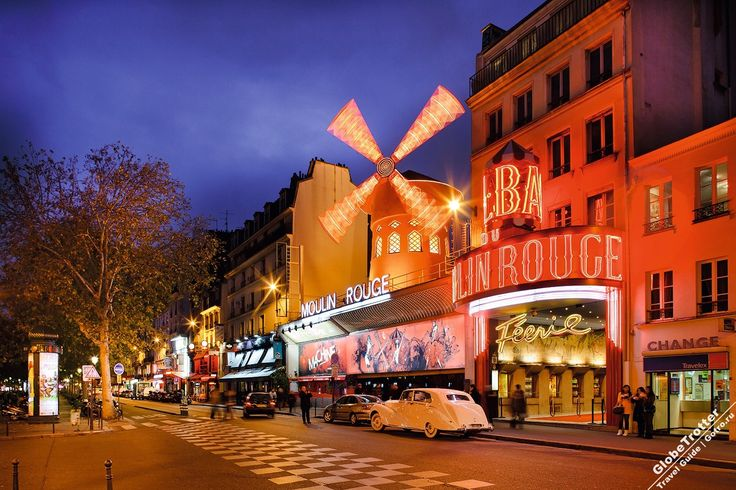 Знаменитые кабаре Парижа: Мулен Руж, Лидо и Крейзи Хорс Paris cabaret Moulin Rouge facade