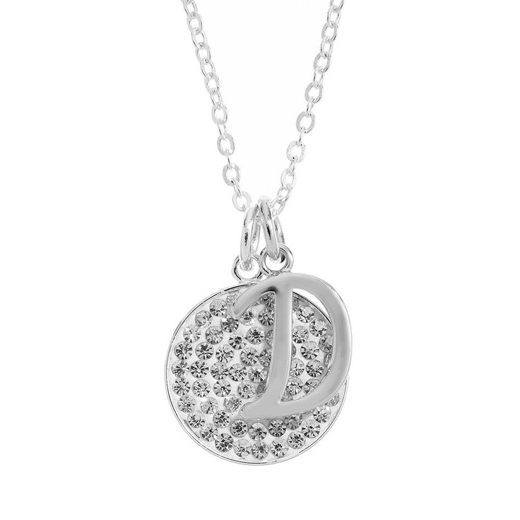 Crystal Silver-Plated Disc & Initial Pendant Necklace, Women's, White