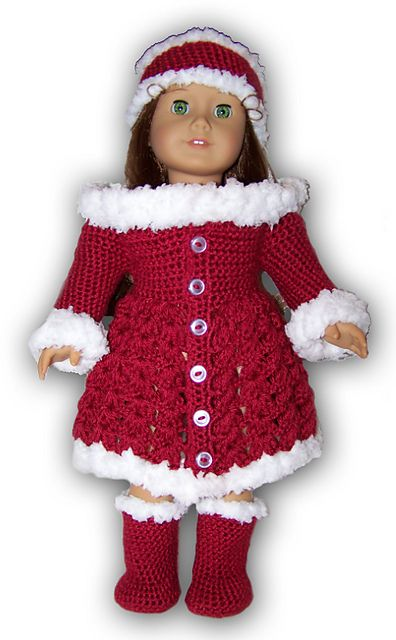 """$4.99~Ravelry: AMERICAN GIRL OR 18"""" DOLL HOLIDAY OUTFIT CROCHET PATTERN pattern by Danielle Bonacquisti"""