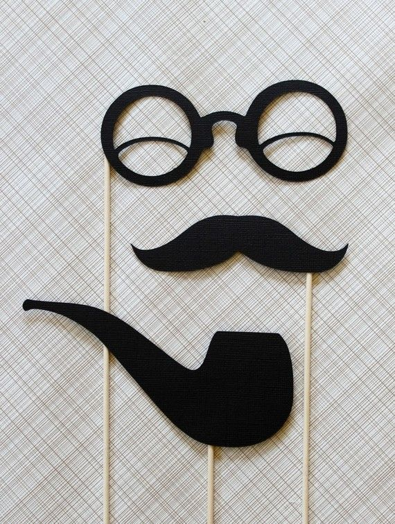 Smoking Hot Gent  Black Pipe Mustache Glasses on by LittleRetreats, $10.50