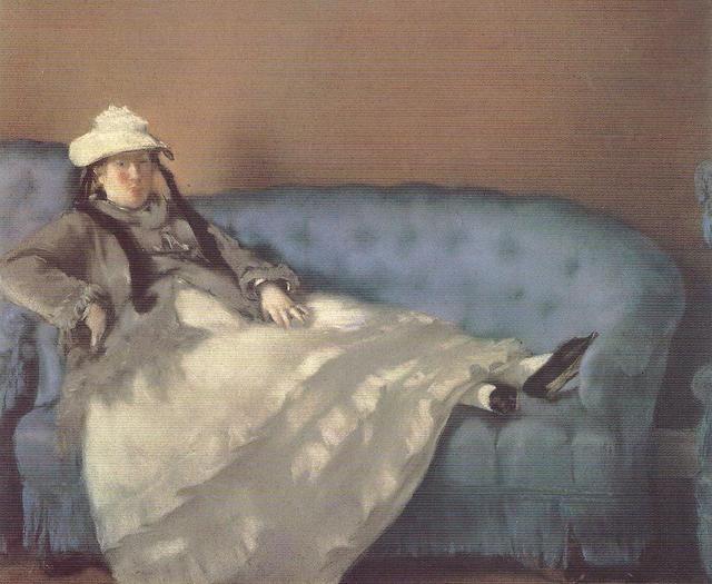 """Madame Monet su un divano blu"", 1874, pastello su carta incollata su tela, Parigi, Musée du Louvre."