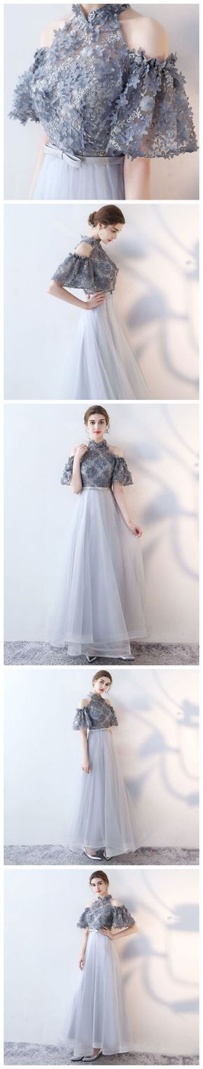 CHIC A-LINE HIGH NECK TULLE APPLIQUE MODEST LONG PROM DRESS EVENING DRESS AM749 #amyprom #fashion #party #evening #chic #promdress #promdresslong #longpromdress #eveningdress #silver