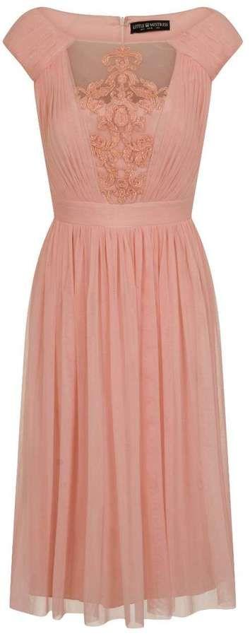 Little Mistress **Little Mistress Blush Lace Midi Skater Dress