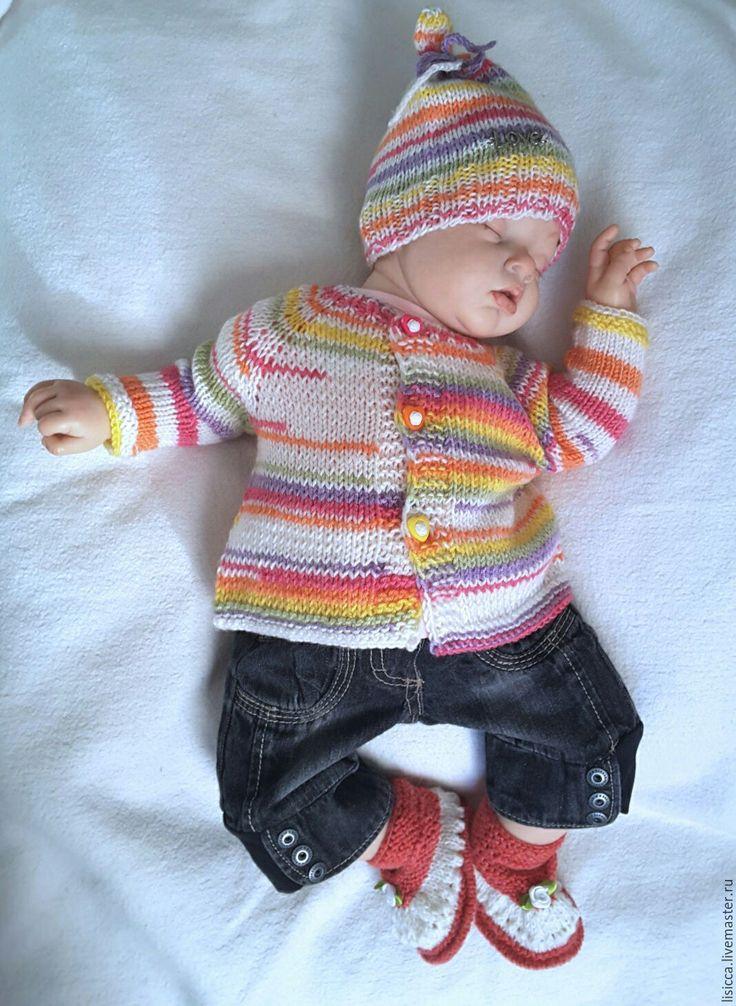 Купить Кофточка + шапочка Весенние краски - в полоску, комплект для малыша, комплект для мальчика