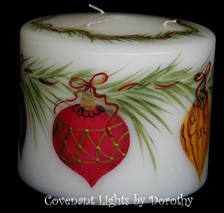 3-wick Hand Painted Christmas Ornaments Candles.
