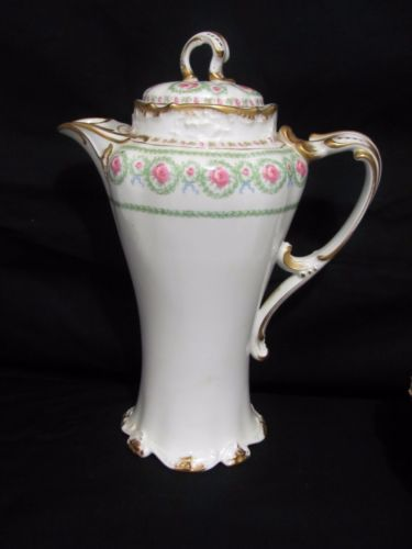 Vintage Limoges France Pouyat Porcelain Chocolate Pot, part of a 75 pc Dinner set - Pink Roses green Swags Gold on White Ground