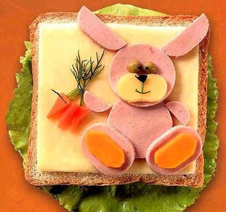 easter bunny sandwich with cheese