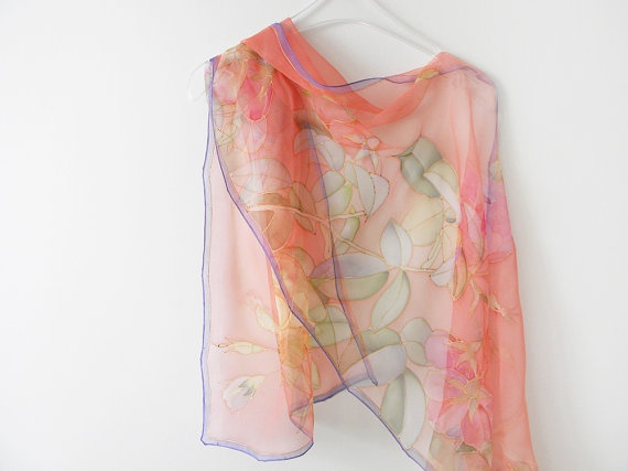 I love scarves but can never manage to figure out how and where to wear them. Silk chiffon scarf Summer scarves Peach hand dyed floral by DEsilk