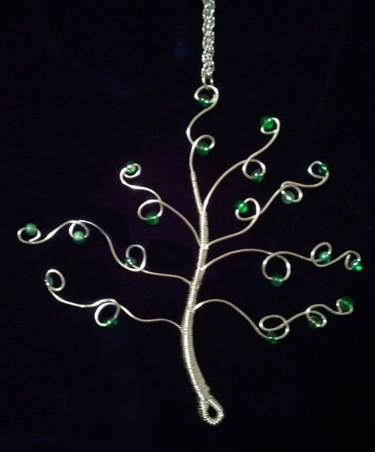 """Simple Tree Pendant""  by Katrina Davis  Artuition.deviantart.com    Silver coated wire and glass beads."
