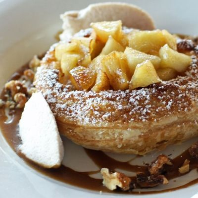 French Apple Tart with Butterscotch Sauce, Candied Walnuts and Cinnamon Whipped Cream