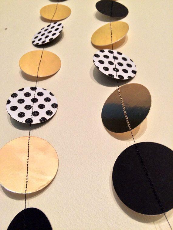Black and gold garland polka dot garland black and gold for Gold dot garland