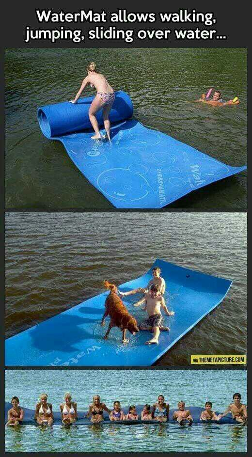 Floating water mat allows people to walk, relax, walk, run and play crazily on water.