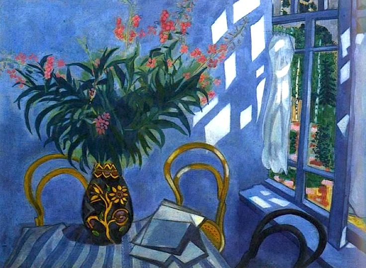 Marc Chagall (Russian-French, 1887-1985). Interior with Flowers. ca.1918.