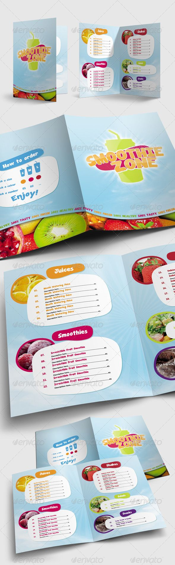 Juice and Smoothie Menu - Smoothie Zone - Food Menus Print Templates