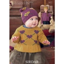 Baby and Girls Round Neck Sweaters in Snuggly Baby Bamboo DK (1471) £2.99