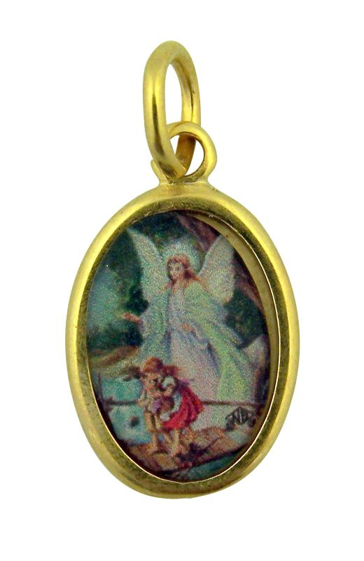 Gold Tone with Epoxy Image Guardian Angel Crossing Bridge Icon Medal, 1 Inch