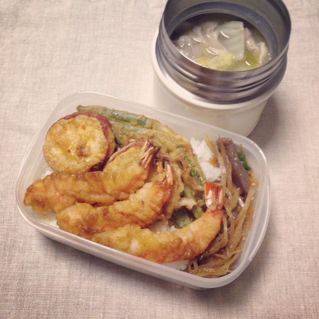 天丼 酸辣湯スープ  てか、酸っぱい豚汁だわ(^^;; - 45件のもぐもぐ - 娘の弁当♡2014.09.30火曜日 by ゆき