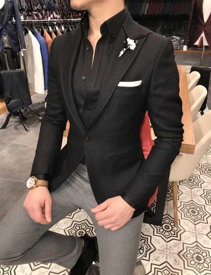 73eee207136f6 Terziademaltun - İtalyan stil erkek slim fit blazer siyah tek ceket T3127  (1)