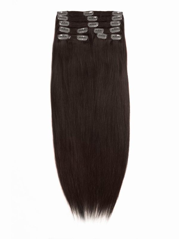 Crushed Garnet Solid Clip In Indian Remy Hair Extensions S300