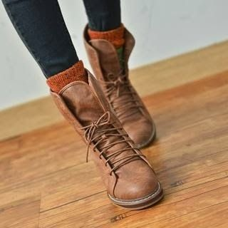 Gorgeous brown lace up ankle boots.  Pinned by #PinkPad, the women's health app. pinkp.ad
