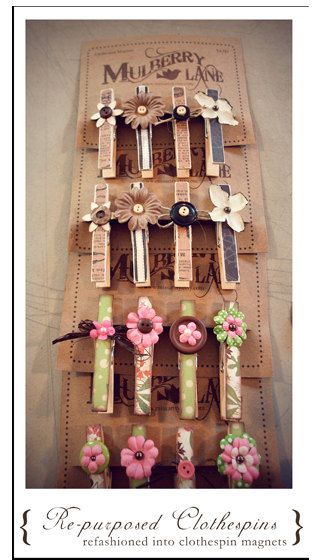 Clothespin Magnet Set of Four 4 by Mulberry Lane by missartsy