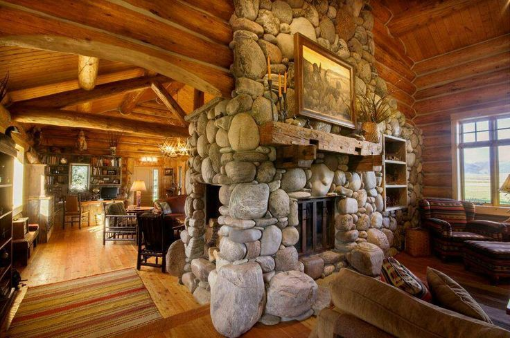 River rock fireplace log house rock houses pinterest for Log and rock homes