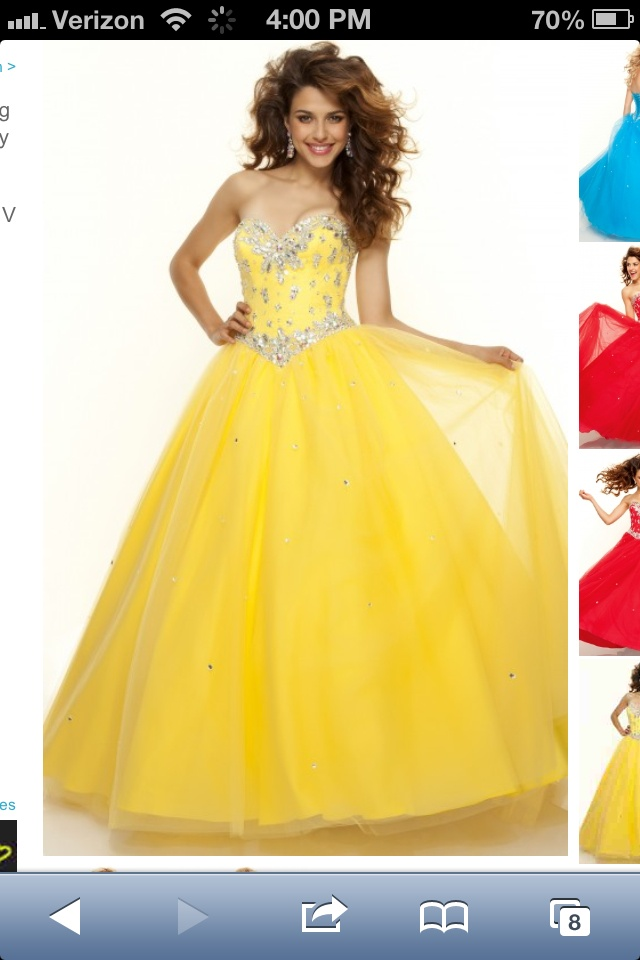 Yellow dress with jewels and tool
