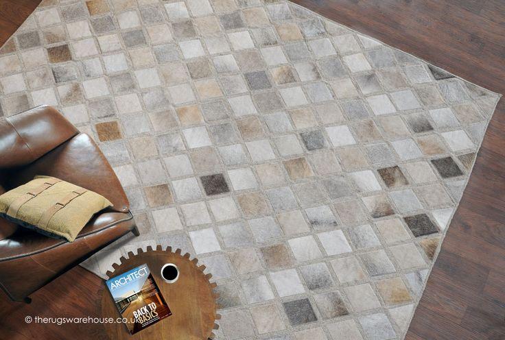 Fuller Rug, a luxury cowhide leather & wool rug in shades of grey, beige & ivory http://www.therugswarehouse.co.uk/fuller-rug.html #rugs #interiors #luxury