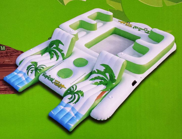 New Giant Inflatable Floating Island 6 Person Raft Pool Lake Float Huge 15' x 9'
