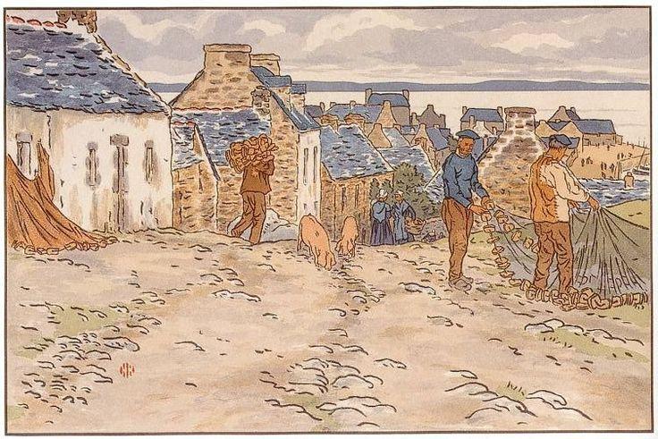 """Henri Rivière,  """"Le beau pays de Bretagne - Rue de Tréboul""""."""