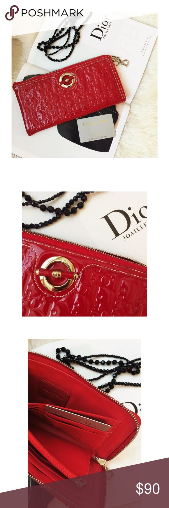 """Fashion Dior clutch . Used once ( like a new condition )Not sure about authenticity ,it was a gift from someone .Made of leather ( no box or dust bag ,no date code ,sorry ) .Total length 9 1/2 inches( long )  ,""""4 1/2 inch """"Wide """".Can send a video upon request.Thanks for looking! Fashion Bags Clutches & Wristlets"""