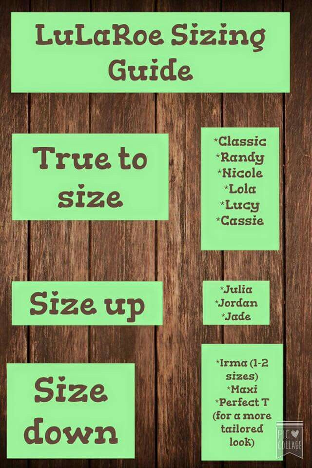 Wondering how to size up or down on each LuLaRoe style? Look no further! Join our shop Facebook.com/groups/lularoehaleyandjess
