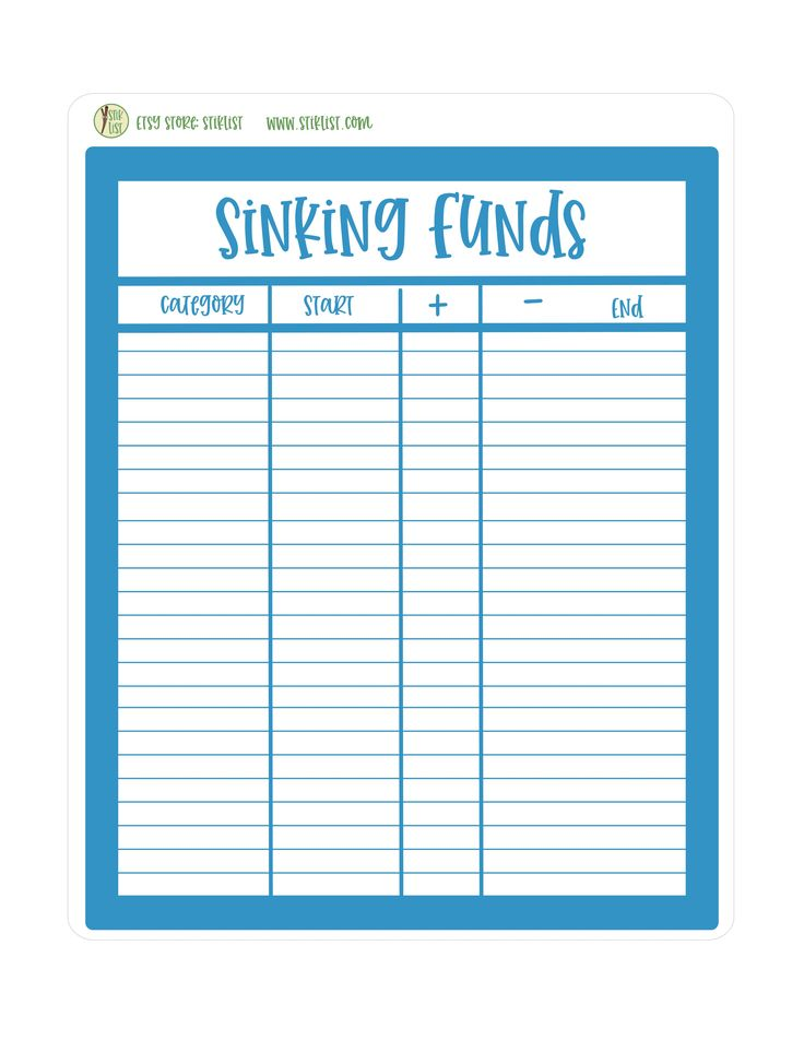 Deluxe Sinking Funds Sticker for Monthly Sinking Funds