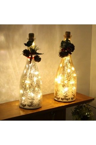 Find a new way to brighten your home at Christmas these light up 8 LED Warm White Battery powered Wine Bottles look amazing on any mantelpiece.