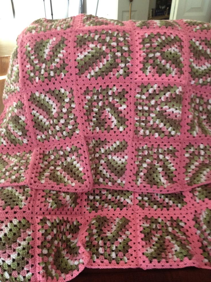 Pink Camo Granny Square Afghan No Pattern Love This