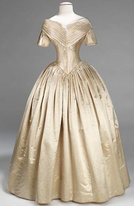 """White Wedding...Wedding dress for one of Sophronia's many sisters."" Wedding Dress 1840-1842 The Metropolitan Museum of Art. Finishing School"