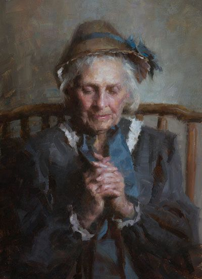 Morgan Weistling  The Conversation  Oil - 20 by 14 Inches Trailside Galleries www.trailsidegalleries.com:
