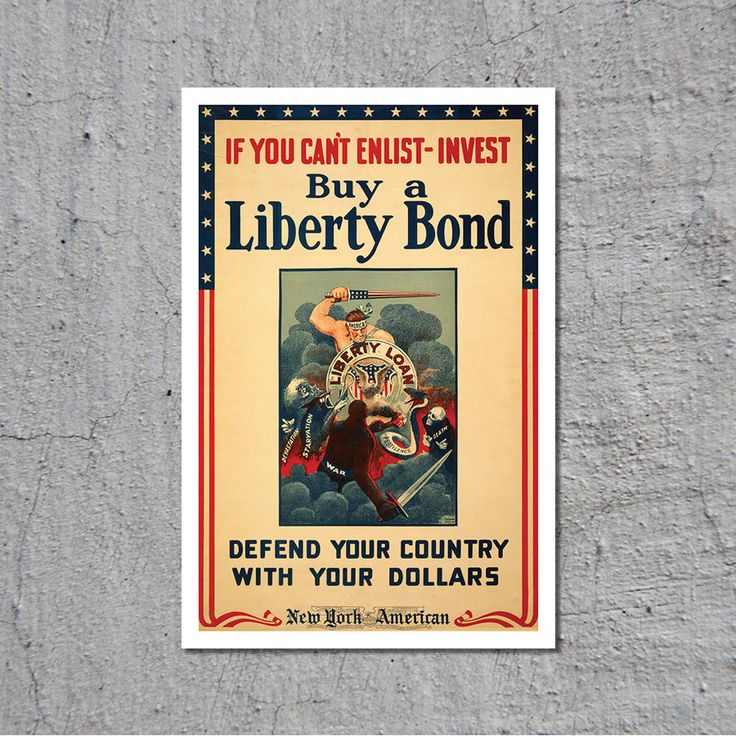 If You Can't Enlist - Invest - Buy a Liberty Bond - 1940s - Artist: Windsor McCay // High Quality Fine Art Reproduction Giclée Print by TheRetroPoster on Etsy