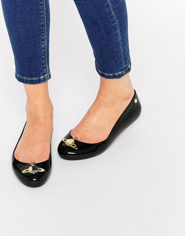 Vivienne Westwood For Melissa Black Space Orb Flat Shoes