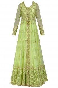 Pista Green and Gold Floral Embroidered Jacket Anarkali Set #nehasaran #shopnow #festiveseason #ppus #happyshopping