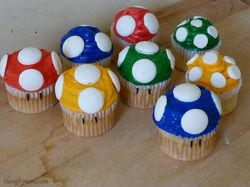 Super Mario Mushroom Cupcakes -Nerdy Cooking via The Nifty Nerd
