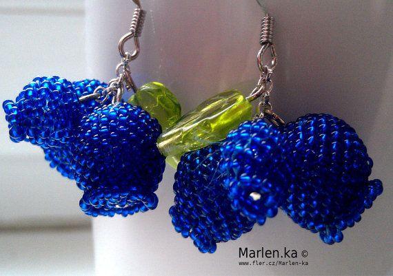 Blueberry bead earrings Fruit Bead Blueberry Fun by MarysaArt