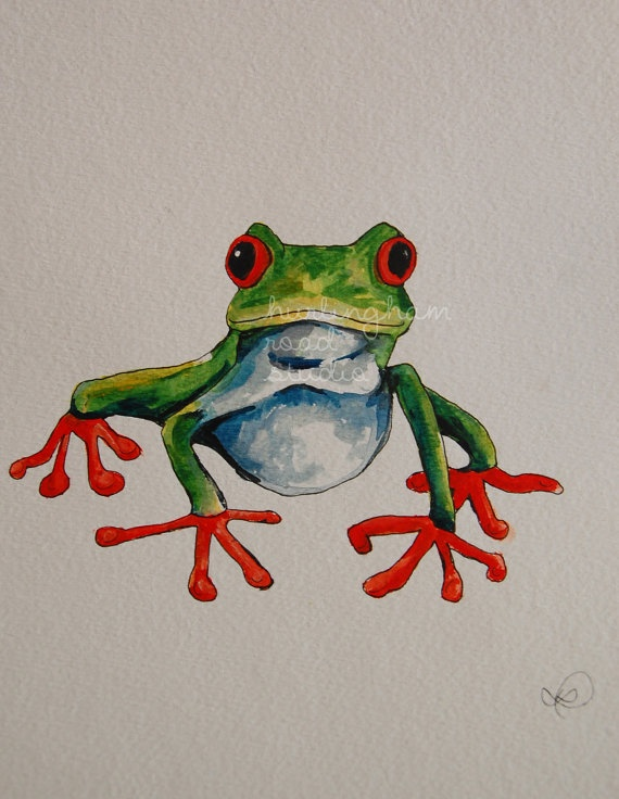 Tree Frog  Original Watercolour Illustration by HurlinghamRoad, $50.00