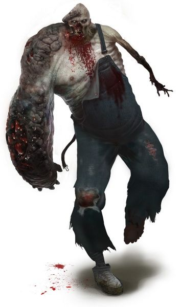 I like the extremely asymmetrical and gored yet organic design of the Charger from Left 4 Dead 2 and could use it for inspiration for my own zombies (((Charger Concept art)))