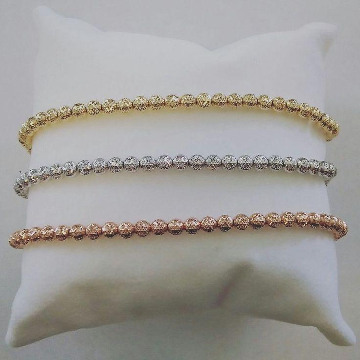 BRACCIALE ORO18kt, SFERE mm 4 effetto diamantato,effetto luce,giallo,bianco,rosa